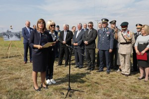 Speaker of the Parliament Mrs Maja Gojkovic delivers her speech at the Halyard Mission 74th anniversary commemoration