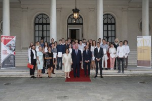 "TRH Crown Princess Katherine and Crown Prince Alexander, Mr. Valentin Kuleto and Mr. Nikola Subotic with the winners of ""IT Academy"" scholarships"
