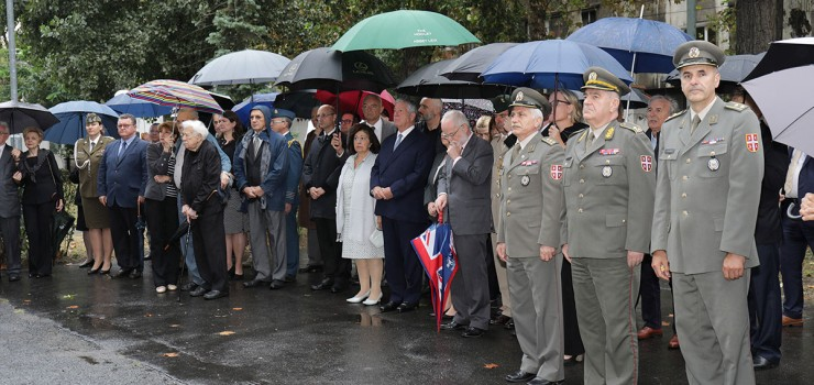 HRH Crown Prince Alexander and HRH Crown Princess Katherine at the wreath laying ceremony at the Serbian Medical Association