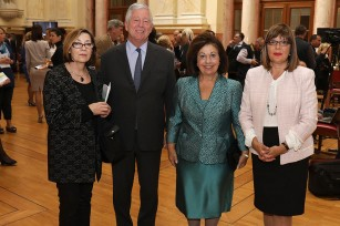 "Their Royal Highnesses Crown Prince Alexander and Crown Princess Katherine, Mrs Maja Gojkovic, Speaker of the Parliament, Мrs Bojana Boric Breskovic, Director of the National Museum in Belgrade at the exhibition ""Art Awaiting Justice – 5 October 2000"""