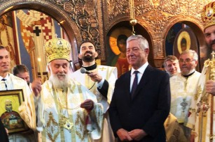 HRH Crown Prince Alexander and His Holliness Patriarch Irinej at Lazarica church