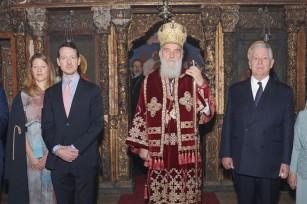 Their Royal Highnesses Prince Alexander, Princess Danica and Prince Philip, His Holliness Serbian Patriarch Irinej and TRH Crown Prince Alexander and Crown Princess Katherine