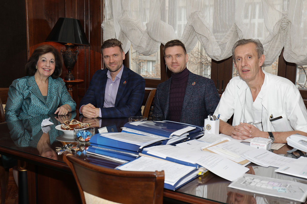 HRH Crown Princess Katherine, Mr. Sergey Sholom, Mr. Maxim Sholom and Prof. Dr. Zeljko Mikovic