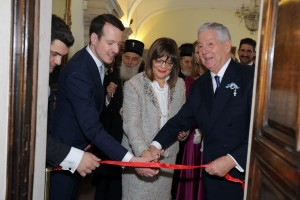 "HRH Prince Philip, Mrs. Maja Gojkovic and HRH Crown Prince Alexander open the exhibition ""Royal Ceremonies"""