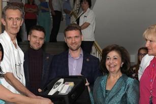 HRH Crown Princess Katherine with Prof. Dr. Zeljko Mikovic, Maxim and Sergey Sholom and Prof. Dr. Snezana Rakic