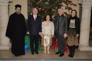 Father Panayotis Kartasios, TRH Crown Prince Alexander and Crown Princess Katherine, Mr. Milan Cile and Mrs. Beba Marinkovic