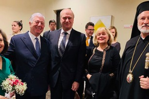 HRH Crown Princess Katherine, HRH Crown Prince Alexander, HE Mr. Djerdj Matkovic with his wife Ms. Vera Matkovic and His Grace the Right Reverend Irinej