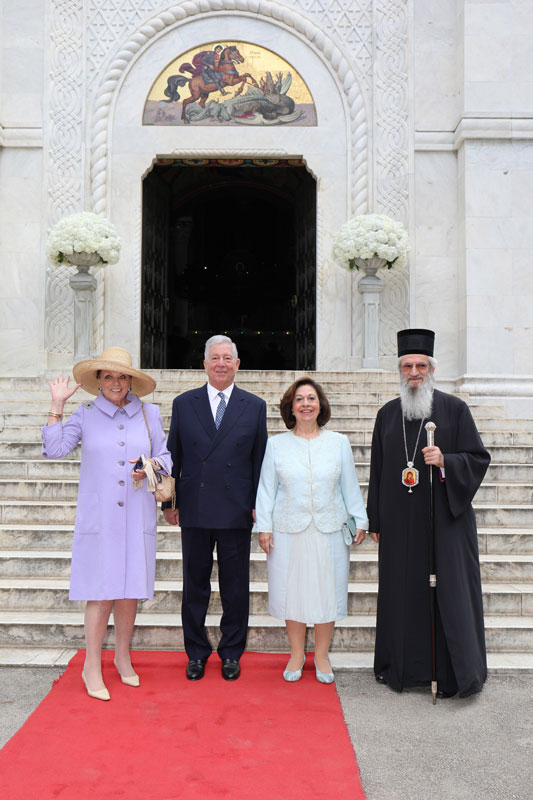 Their Royal Highnesses Princess Barbara, Crown Prince Alexander and Crown Princess Katherine, and His Grace Bishop Jovan of Sumadija