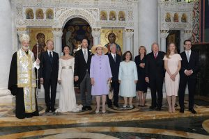Royal family with newlyweds and His Grace Bishop Irinej of the Eastern Diocese of the Serbian Orthodox Church in America