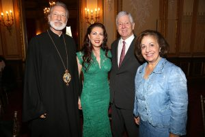 TRH Crown Prince Alexander and  Crown Princess Katherine  with Bishop Irinej of Eastern America for Serbian Orthodox Church and Barbara Grizer