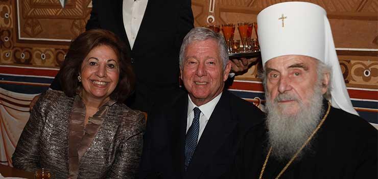 ТRH Crown Prince Alexander and Crown Princess Katherine with His Holiness the Serbian Patriarch Irinej
